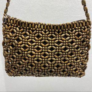 The Sak Natural Wood Bead Hobo Shoulder Bag